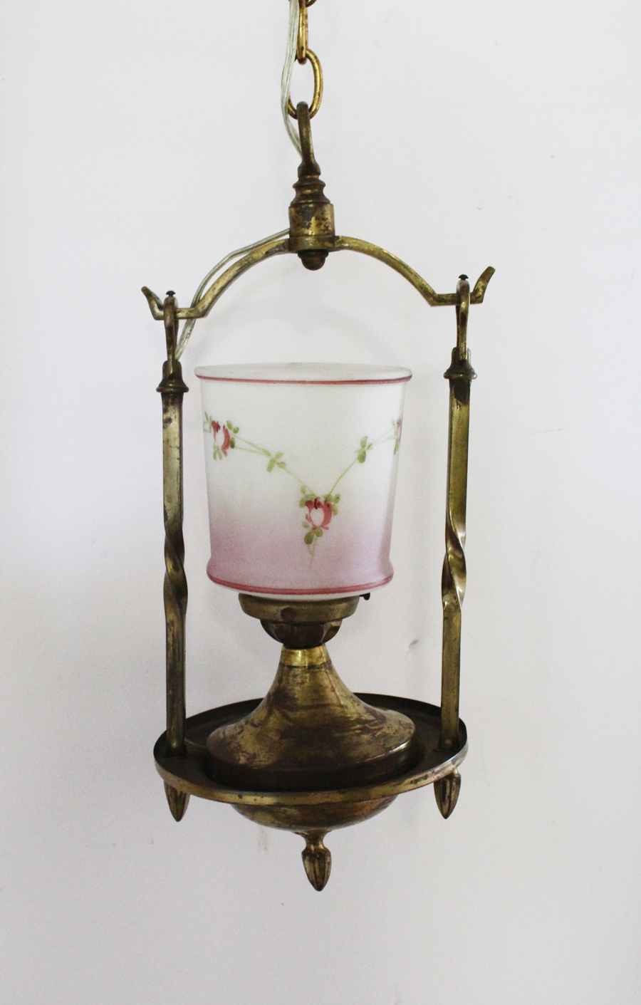 Hand Painted Pink Rose Swags French Parlor Chandelier