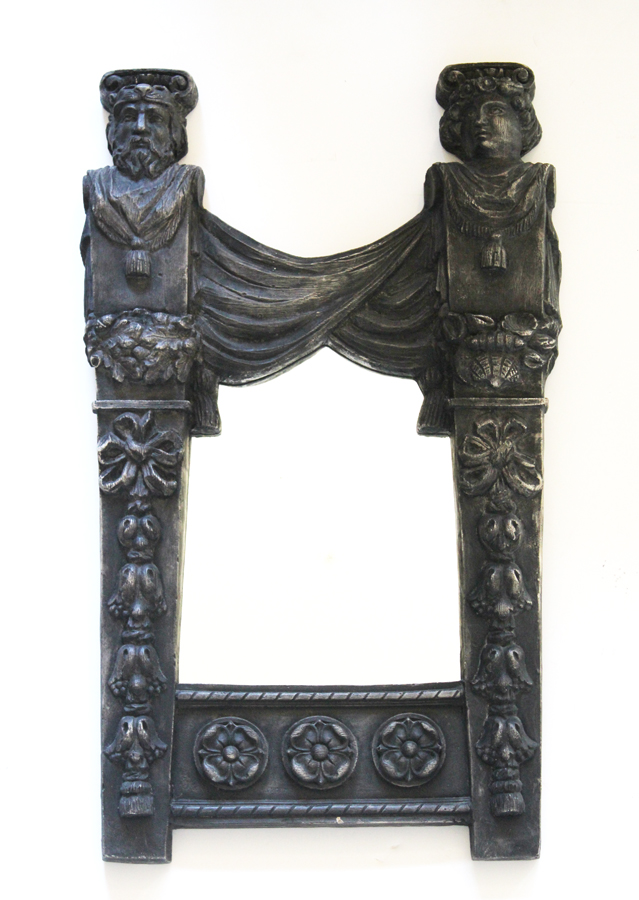 French Royalty Figural Ornate Wall Mirror Gorgeous Details-