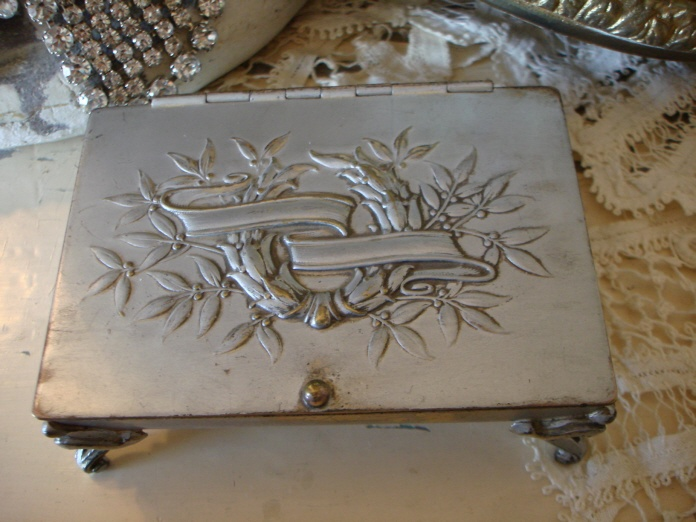 French Laurel Wreath Antique Silver Jewel Box-