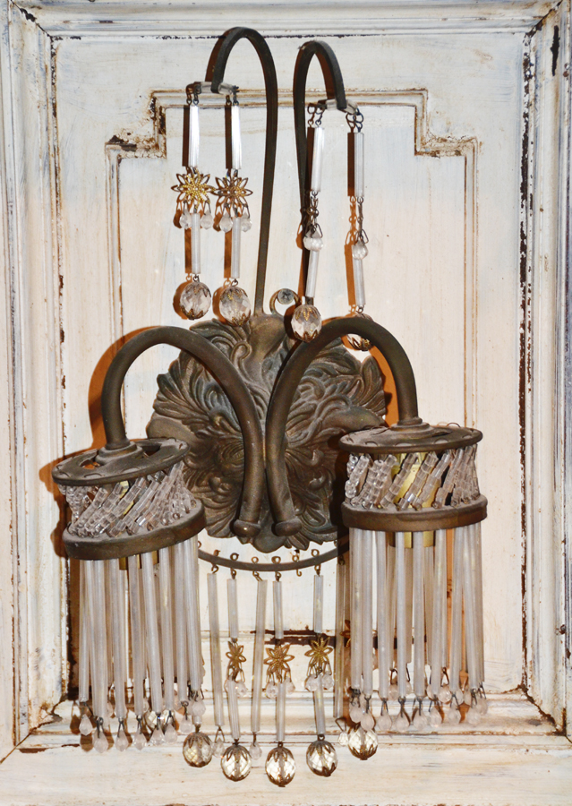 Breathtaking Antique French Beaded 2 Arm Wall Sconce Electric-