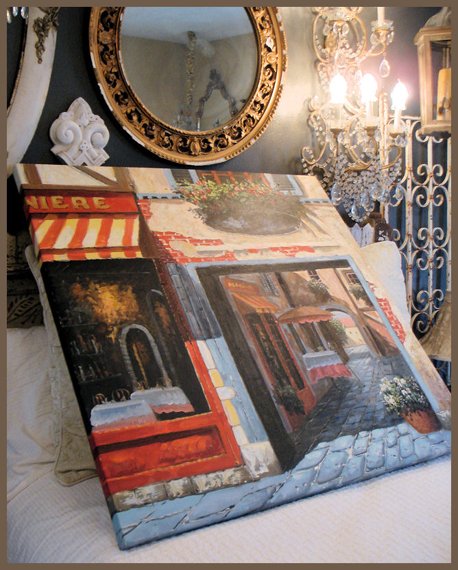 Vintage Xlrg French Street Oil Painting Awesome & Bold-