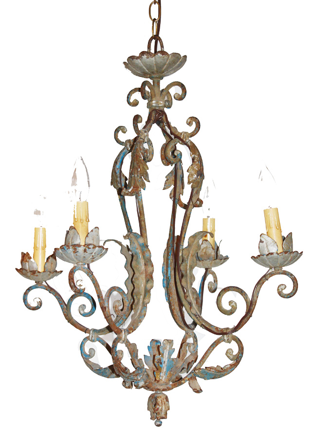 1800s French Tole Wrought Iron Chandelier Original Paint-