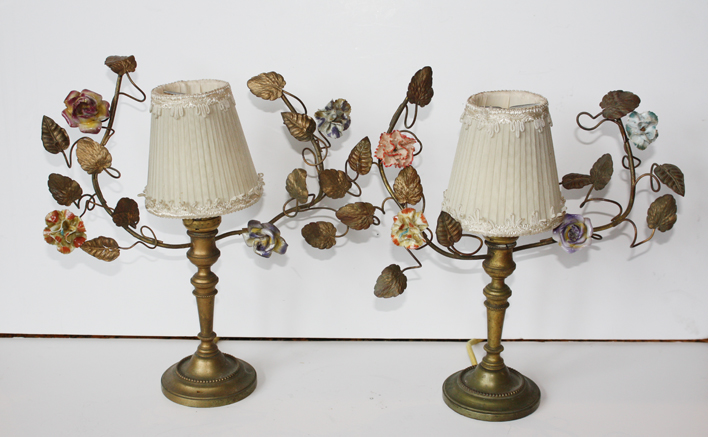 Pair French Tole Porcelain Flower Girandole Lamps Early 1900s-