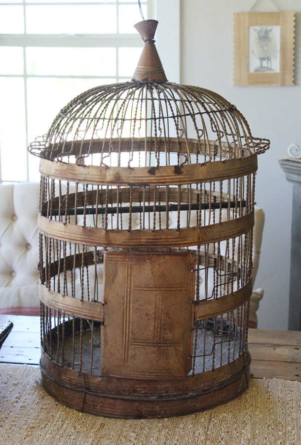 Xlrg Antique French Wire Birdcage Gorgeous Patina