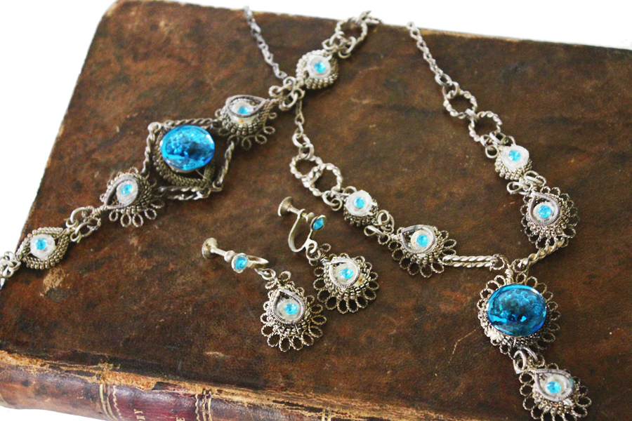 French Antique Wirework Jewelry Set Beautiful-