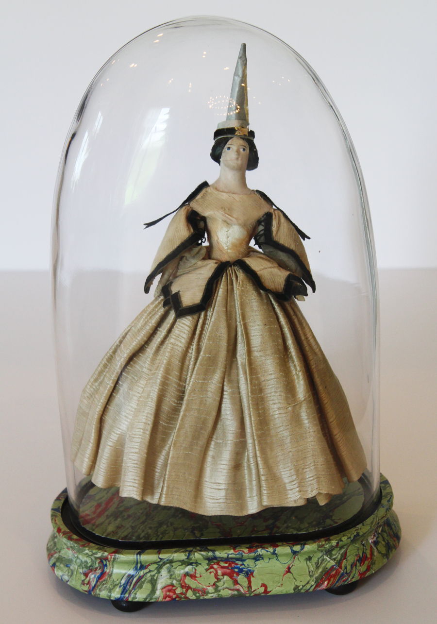 Antique French Wishing Doll with Original Display Cloche