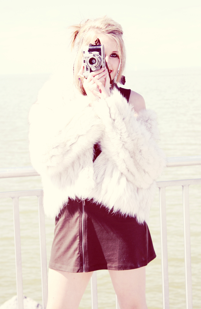 Vintage Faux Fur White Coat Beautiful-