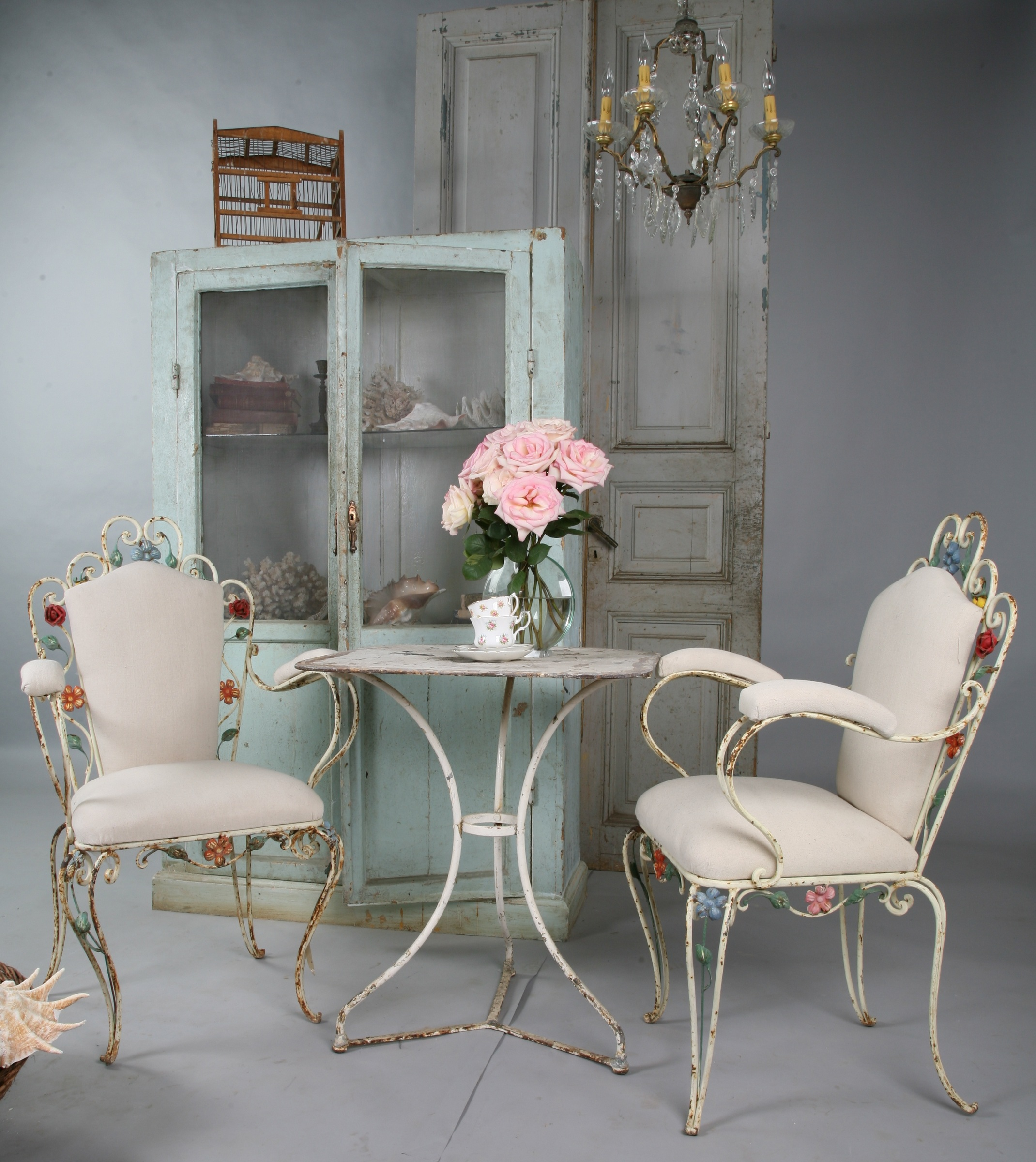 The Best! Pair Antique French Tole Floral Iron Arm Chairs-