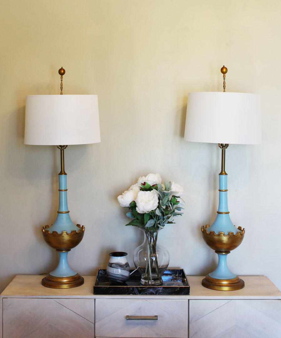 Pair Light Blue Antique Italian Lamps Mod Glam