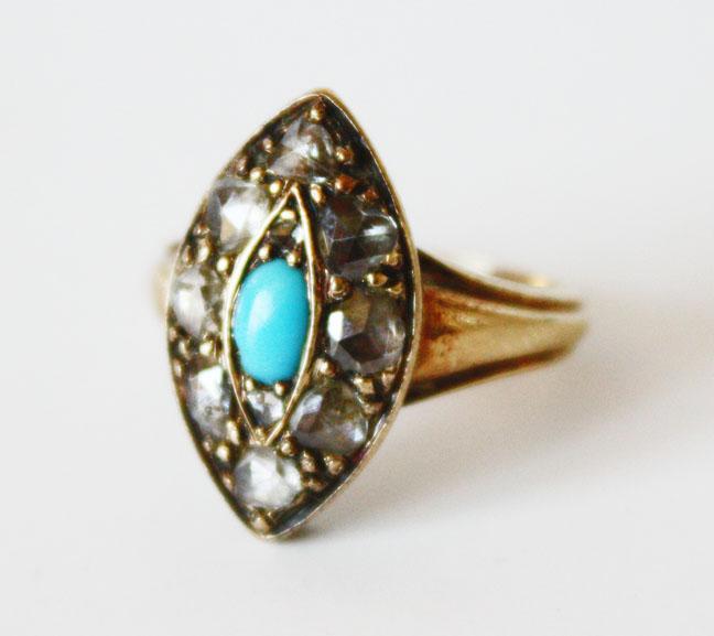 Rare Georgian Diamond & Persian Turqoise Ring-