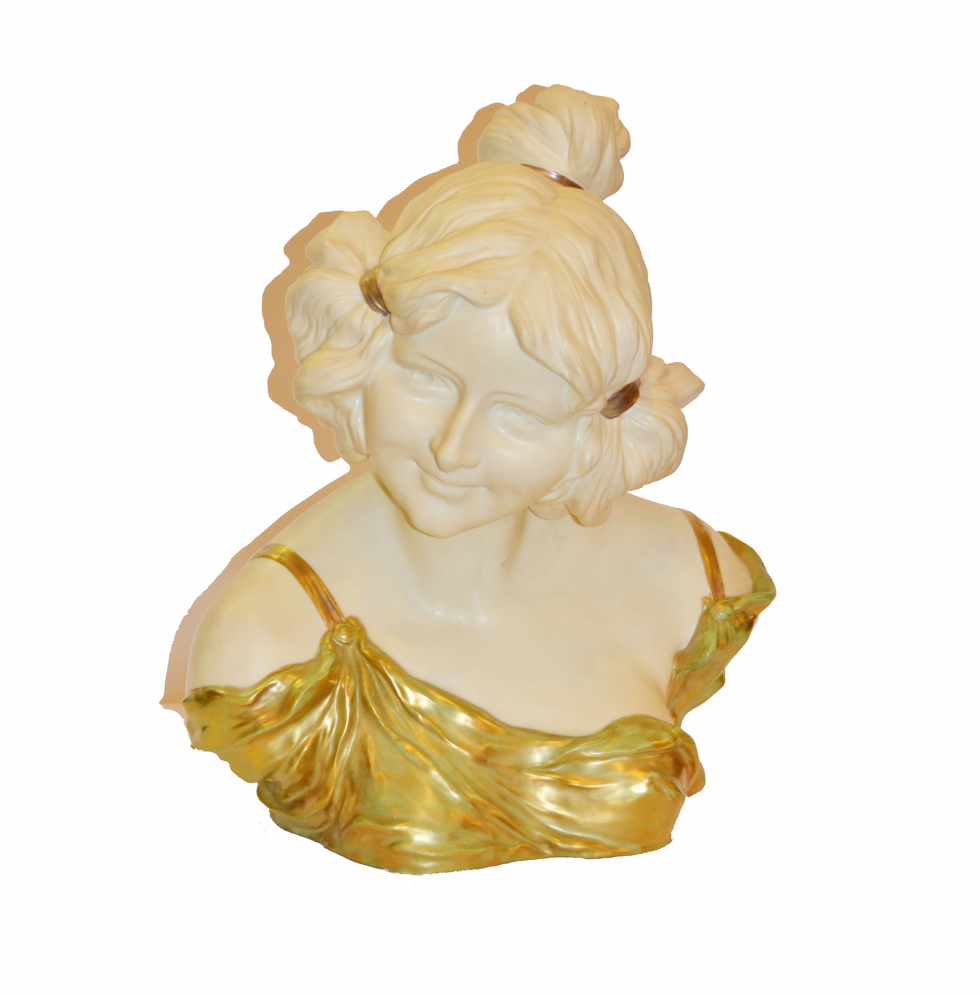 German Art Nouveau Porcelain Bust Circa 1905-1908-