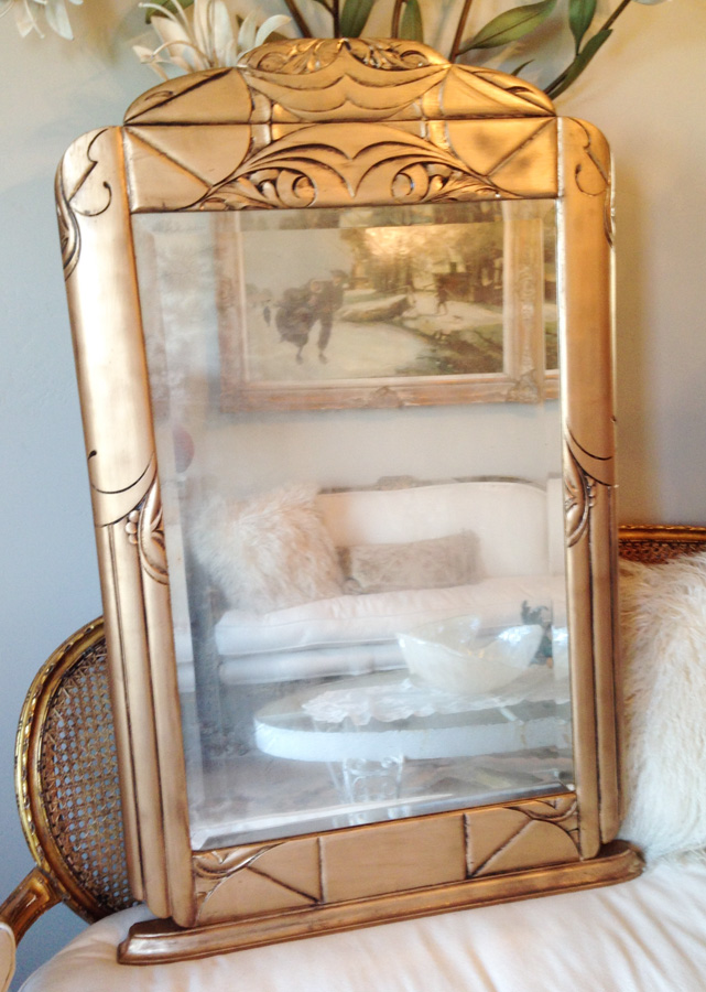 Antique Gorgeous Carved Wood Mirror With Ghosty Beveled Glass