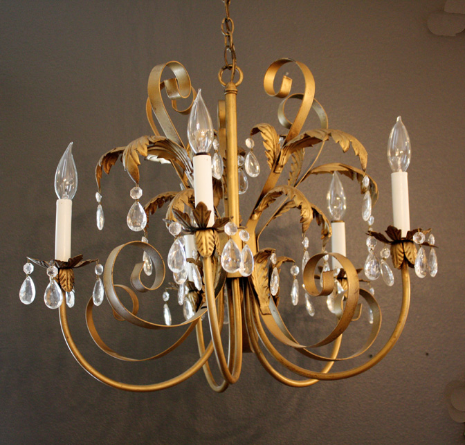 Italian Tole Gilt 1940s Chandelier Gorgeous-Antique Chandelier, Chandelier, Antique, Vintage, Vintage Chandelier, French, Gilt, Crystal, Bronze, Beaded, Italian, European, French Country, Victorian, Prisms, Brass, Italy, Italian Tole, Shabby Chic Chandelier, Rachel Ashwell, French Home Decor, Designer Decor, Paris Flea Market, Paris Couture Antiques, Paris Antiques, France Antiques, Paris Shopping, Wall Sconces, Antique Sconces, Rock Crystal, Lamp, Floor Lamp