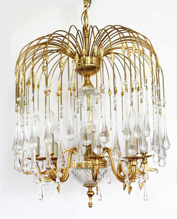 Incredible Antique Bronze Crystal Waterfall Chandelier