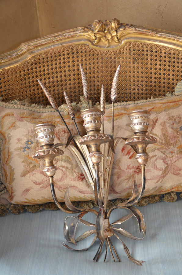 Italian Tole Silver Gilt Candelabra Wall Sconce Wheat & Bow