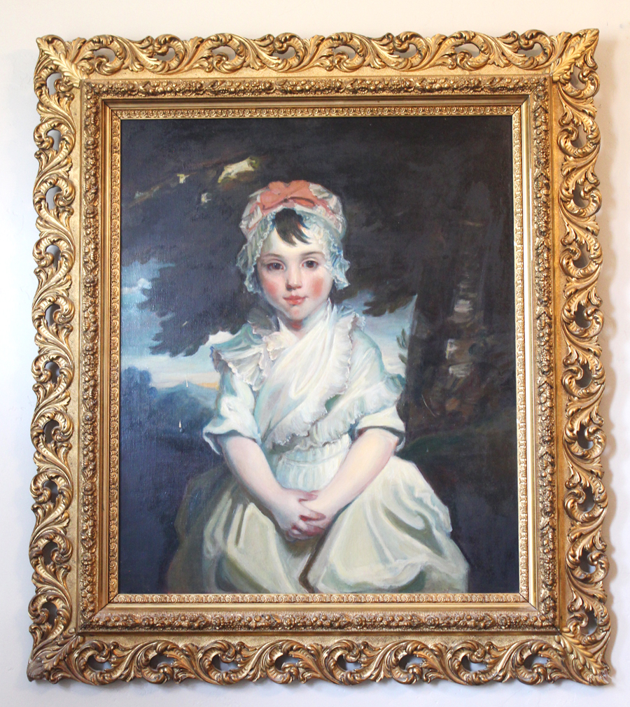 Incredible Framed Oil Painting Girl Metropolitan Museum of Art Composition