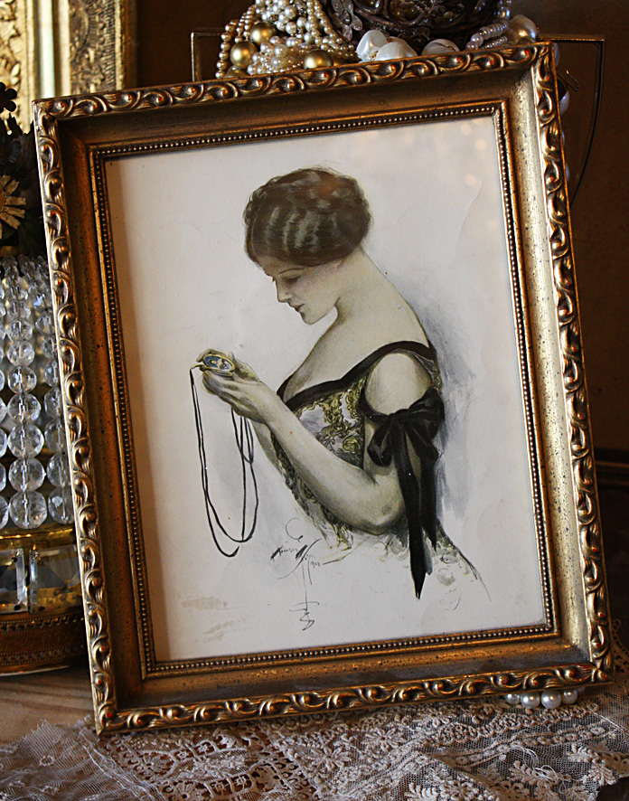 Antique Flapper Framed Lithograph-