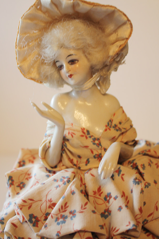 Rare German Flapper Boudoir Half Doll Pin Cushion-