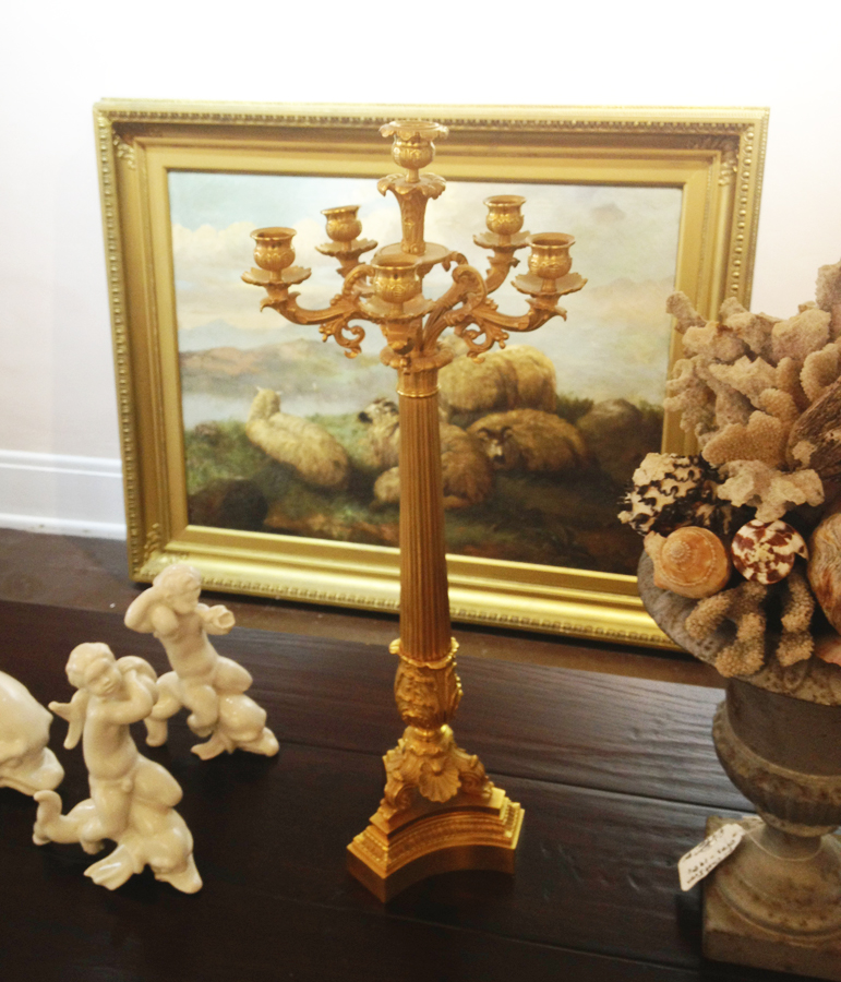Pair Antique Alter Candelabras French Gilt-