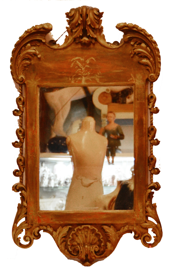 Carved Wood Italian Gilt Ornate Mirror Handcarved 1910s-