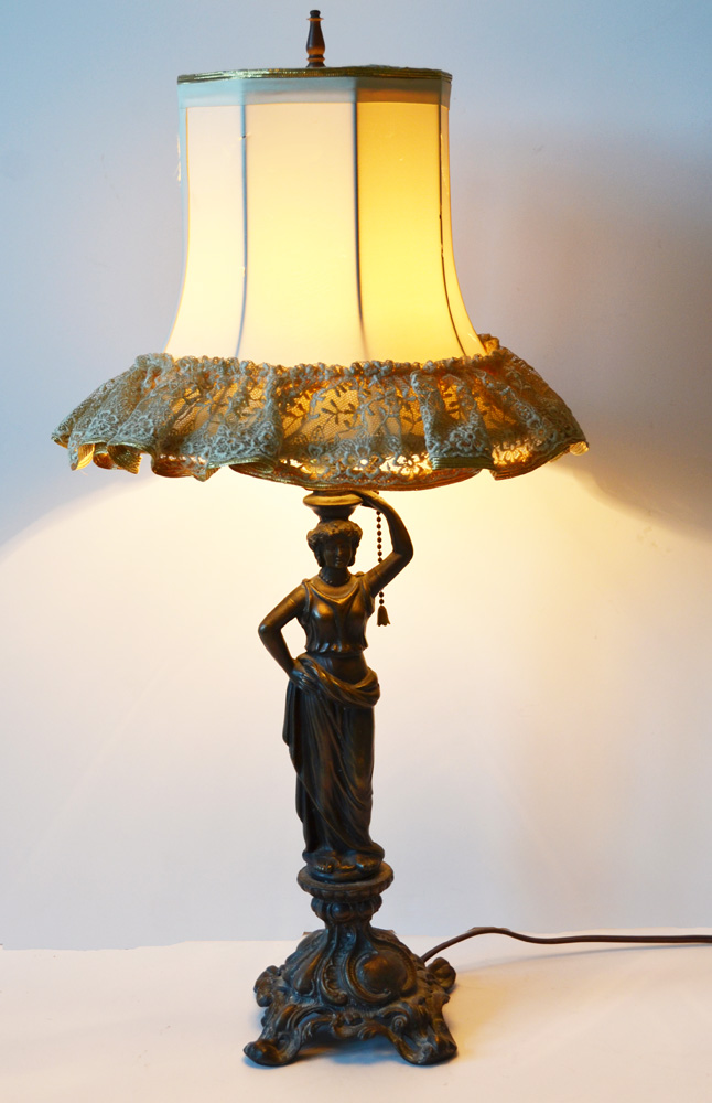 Antique Goddess Beauty Lamp Incredible Patina-