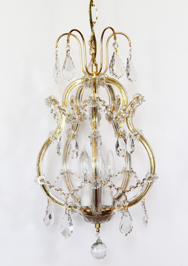 Beautiful Crystal Birdcage Style Vintage Chandelier