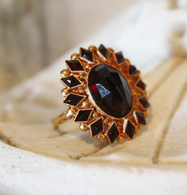 Rose Cut Garnet Ring Large Statement Piece-