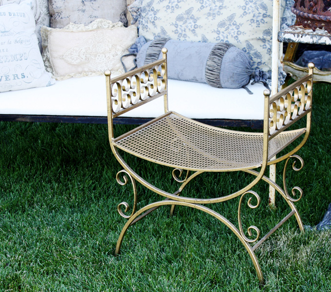 Italian Florentine Gilt Metal Tole Bench/Settee
