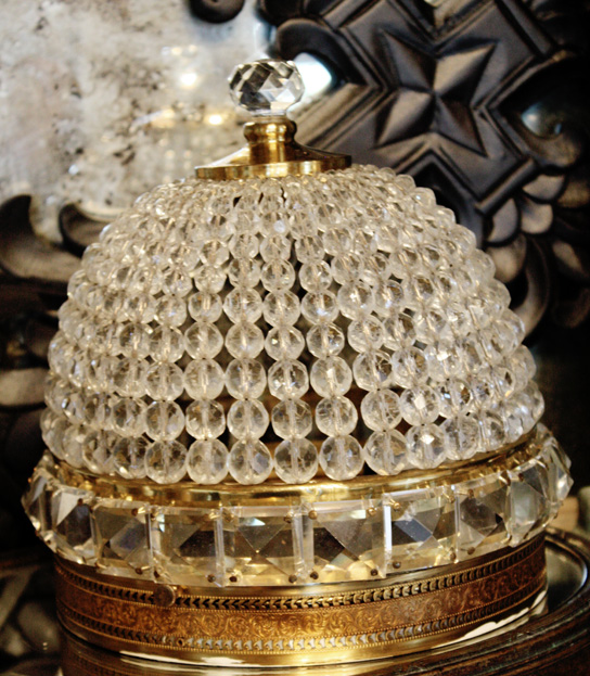 Rock Crystal Beaded Dome Antique One of a Pair-