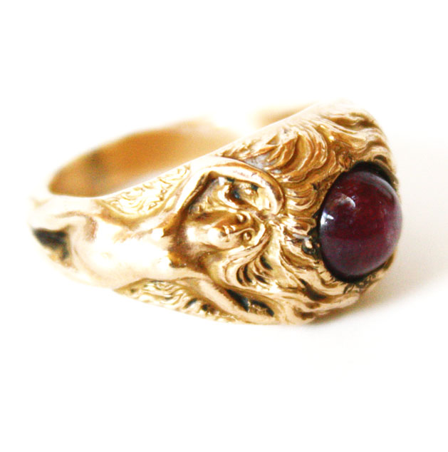 Art Nouveau Figural Star Ruby 1890 Estate Ring-