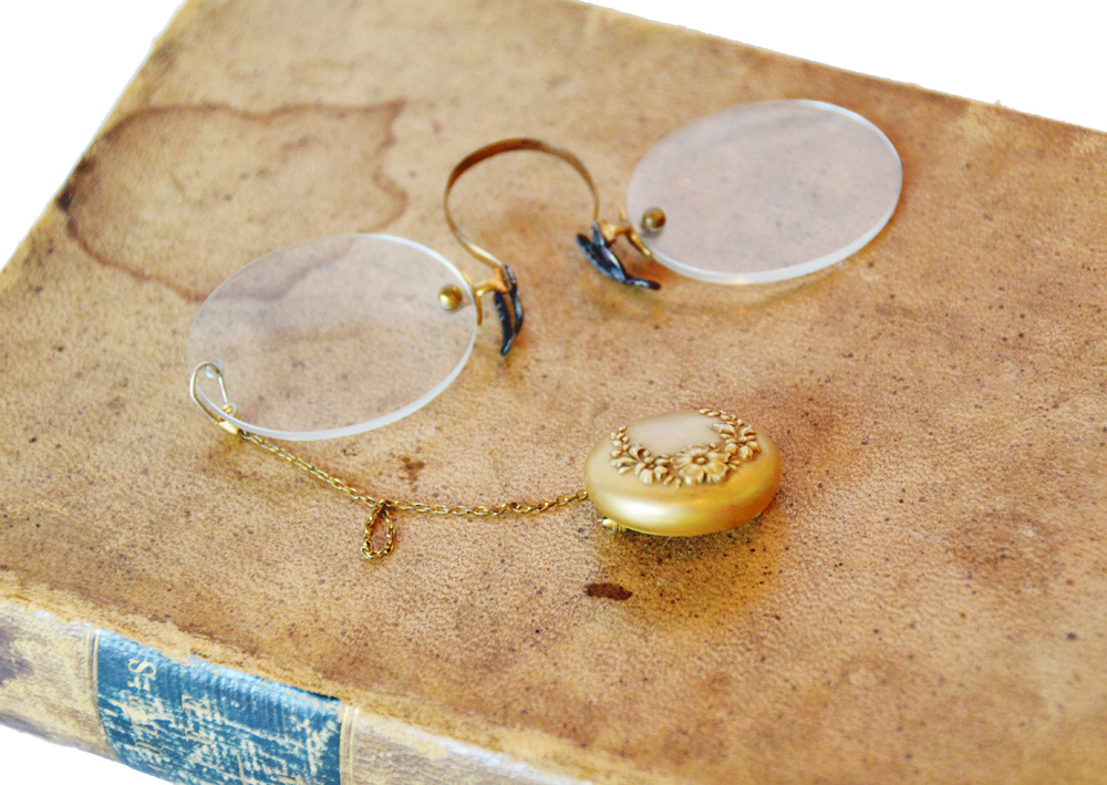 Antique Victorian Eyeglasses with Gold Retractable Chain-