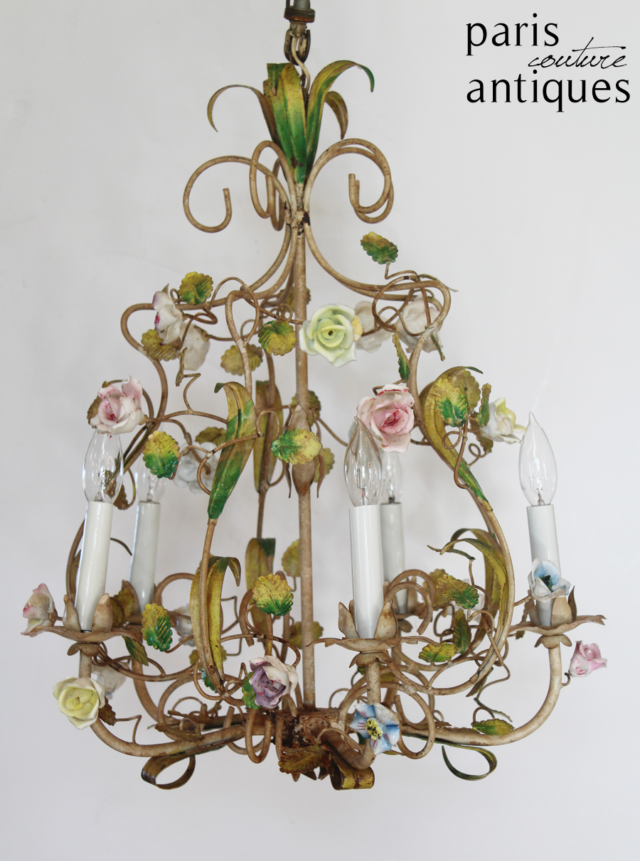 Rare Antique French Porcelain Flowers Tole Chandelier