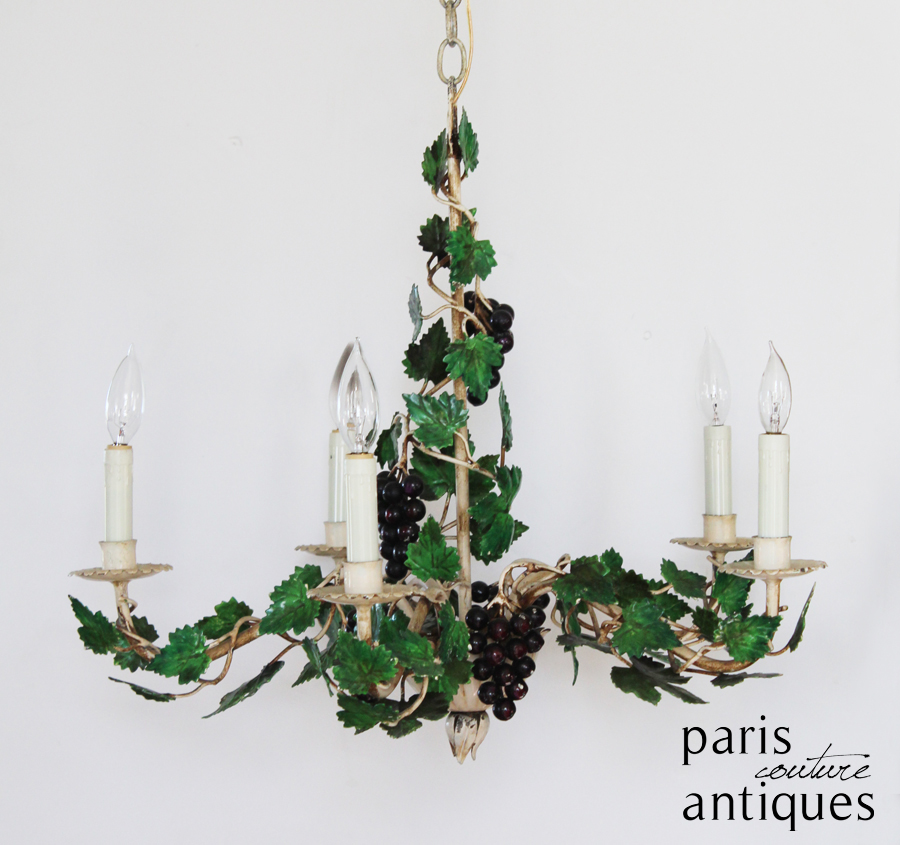 Rare Antique Italian Tole Grape Vines & Clusters Winery Chandelier