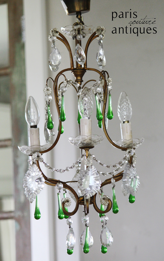 Antique French Bronze Crystal Chandelier w/Peridot Prisms