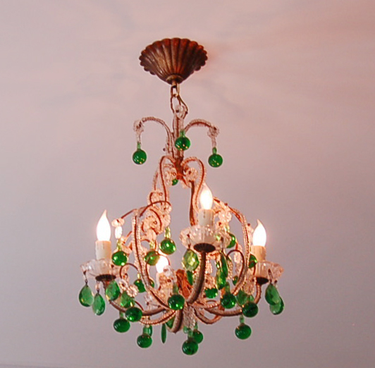 Incredible Antique Italian Beaded Chandelier Emerald Green Drops Rare-