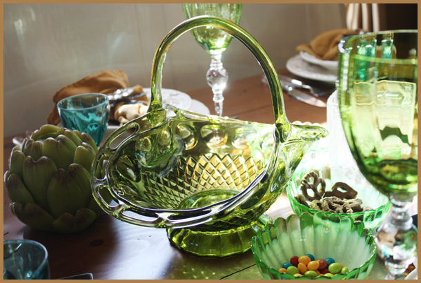 Antique Green Glass Xlrg Basket Gorgeous Details-
