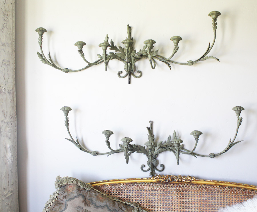 Vintage Wrought Iron Tole Xlarge Wall Sconces Verdigreen