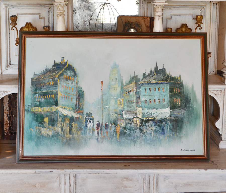 Vintage Framed Paris Street Scene Oil Painting