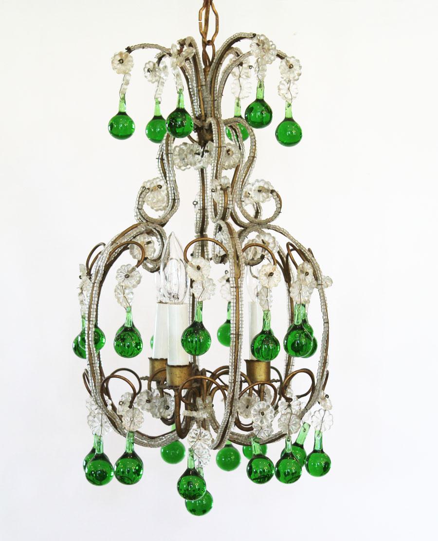 Rare Italian Beaded Antique Green Baubles Chandelier