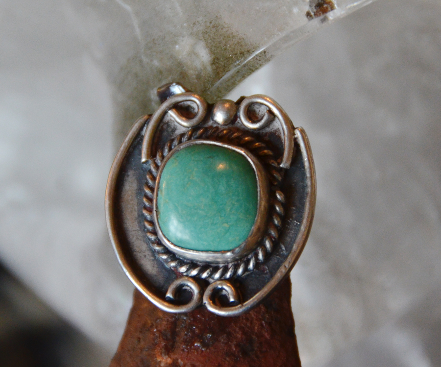Vintage Turquoise Ring Native American Silver Work-