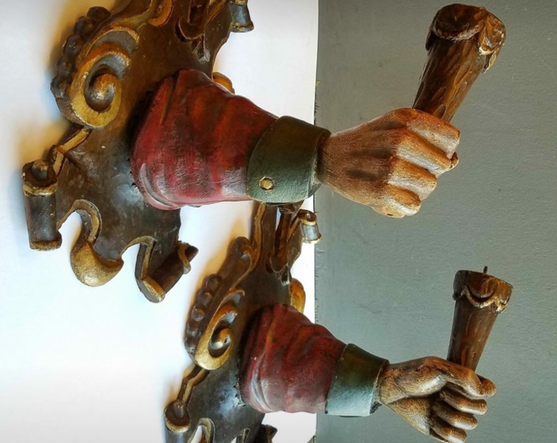 Pair Italian Hand Carved Hand Sconces Antique