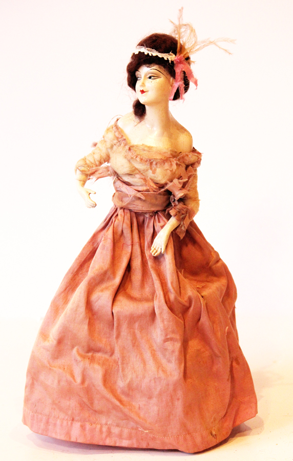 Antique French Half Doll Cage Base Silk Dress
