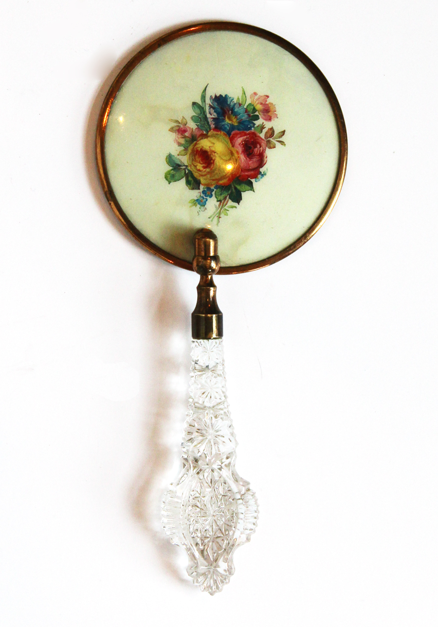 Antique Hand Mirror Crystal Handle w/Painted Flowers-