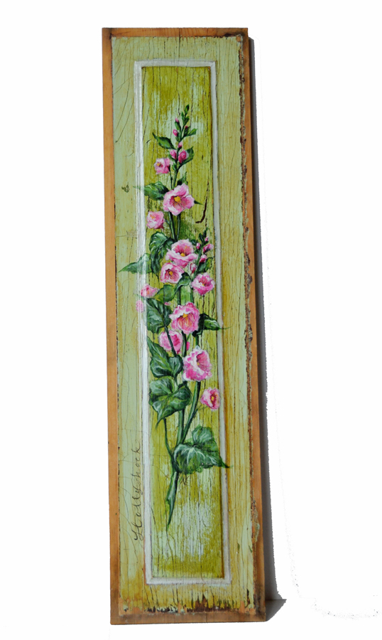Antique Hollyhocks Oil Painting on Board