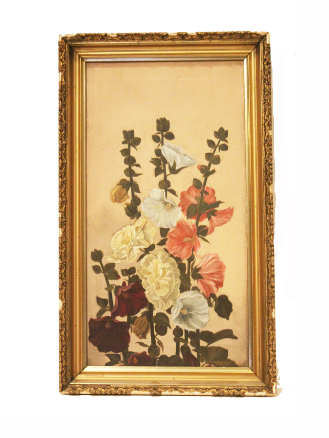 Antique Hollyhock Oil Painting Floral Original Frame