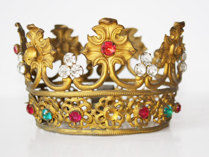 Late 1800s Rare Pink & Aqua Stones French Crown-