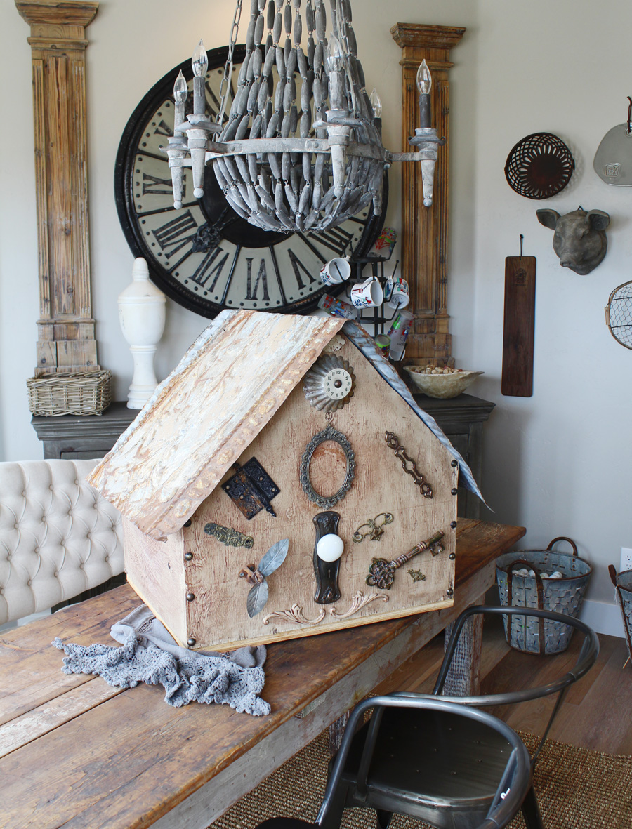 Architectural Xlrg Bird House Antique Elements Incredible