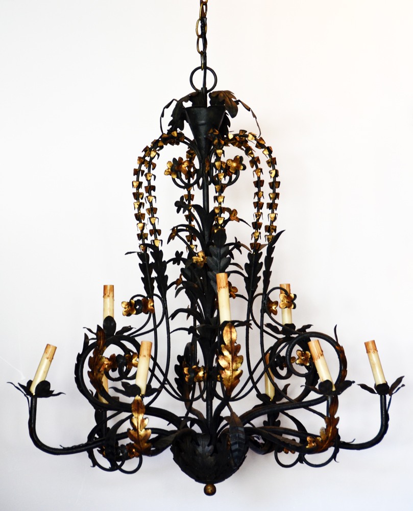 Massive & Incredible Antique Wrought Iron Italian Tole Chandelier-