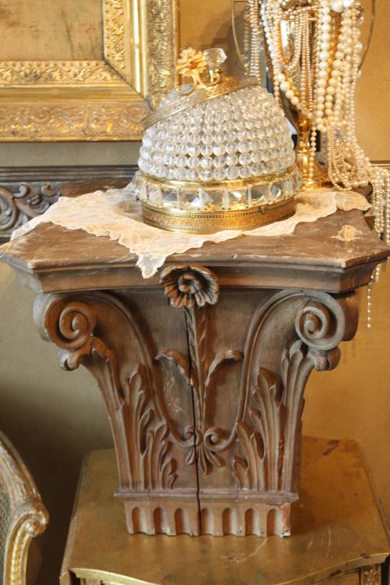 Xlrg Incredible Antique Column Topper Gorgeous Details-
