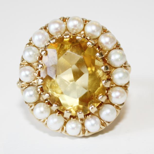 Large Citrine 10 K w/Seed Pearls 1940s Vintage-